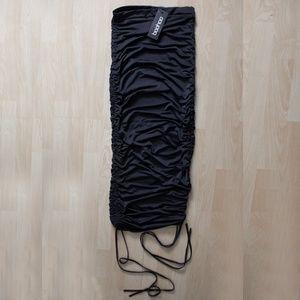 Women's NEW Black Boohoo Rouched Midi Skirt, 4